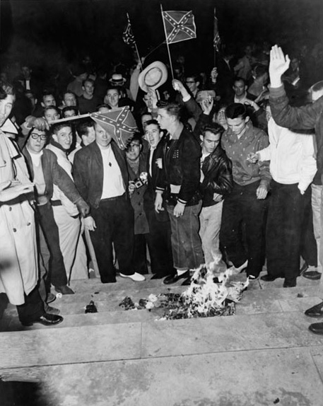University of Alabama students burn desegregation literature 1956
