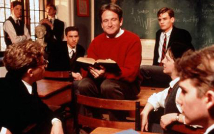 Dead Poets Society: John Keating enjoys placing both his his feet and his ass where they don't belong