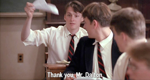 Dead Poets Society: Charlie Dalton is the first to rip out his Pritchard page