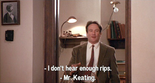 Dead Poets Society: John Keating leads Welton Academy boys through their first step toward book burning