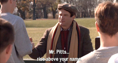 Dead Poets Society, John Keating further sneers at the name of Gerard Pitts