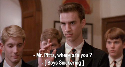 Dead Poets Society, John Keating sneers at the name of Gerard Pitts