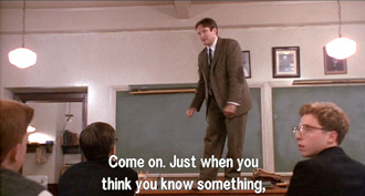 Dead Poets Society: John Keating gets the entire class to walk across his table
