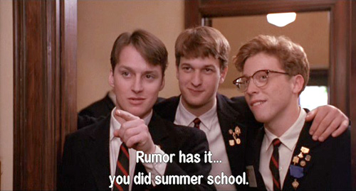 Dead Poets Society: Neil Perry has taken Chemistry in summer school