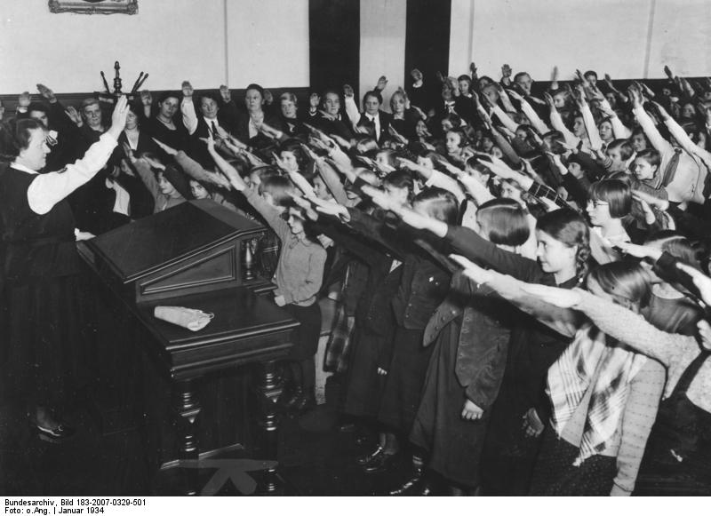 German children giving Nazi salute